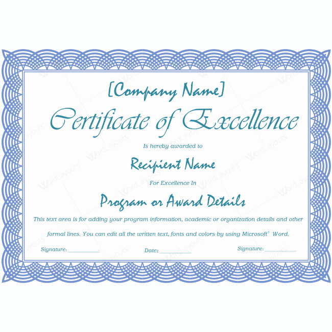 Certificate Of Excellence Template Luxury 89 Elegant Award Certificates for Business and School events