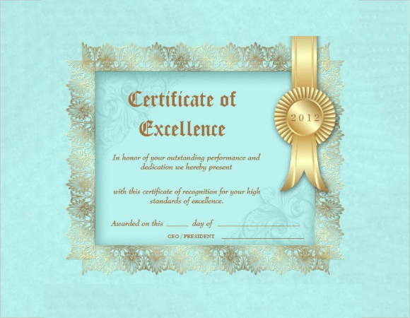Certificate Of Excellence Template Luxury 9 Certificate Of Excellence Templates – Samples Examples