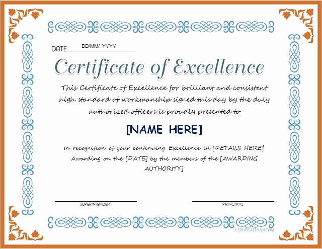 Certificate Of Excellence Template New Certificates Of Excellence for Ms Word