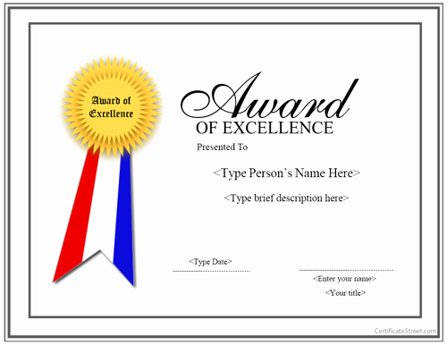 Certificate Of Excellence Template New Special Certificates Award for Excellence with Ribbon