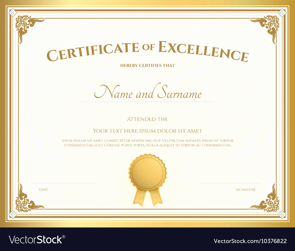 Certificate Of Excellence Template Unique Certificate Of Excellence Template Gold theme Vector Image