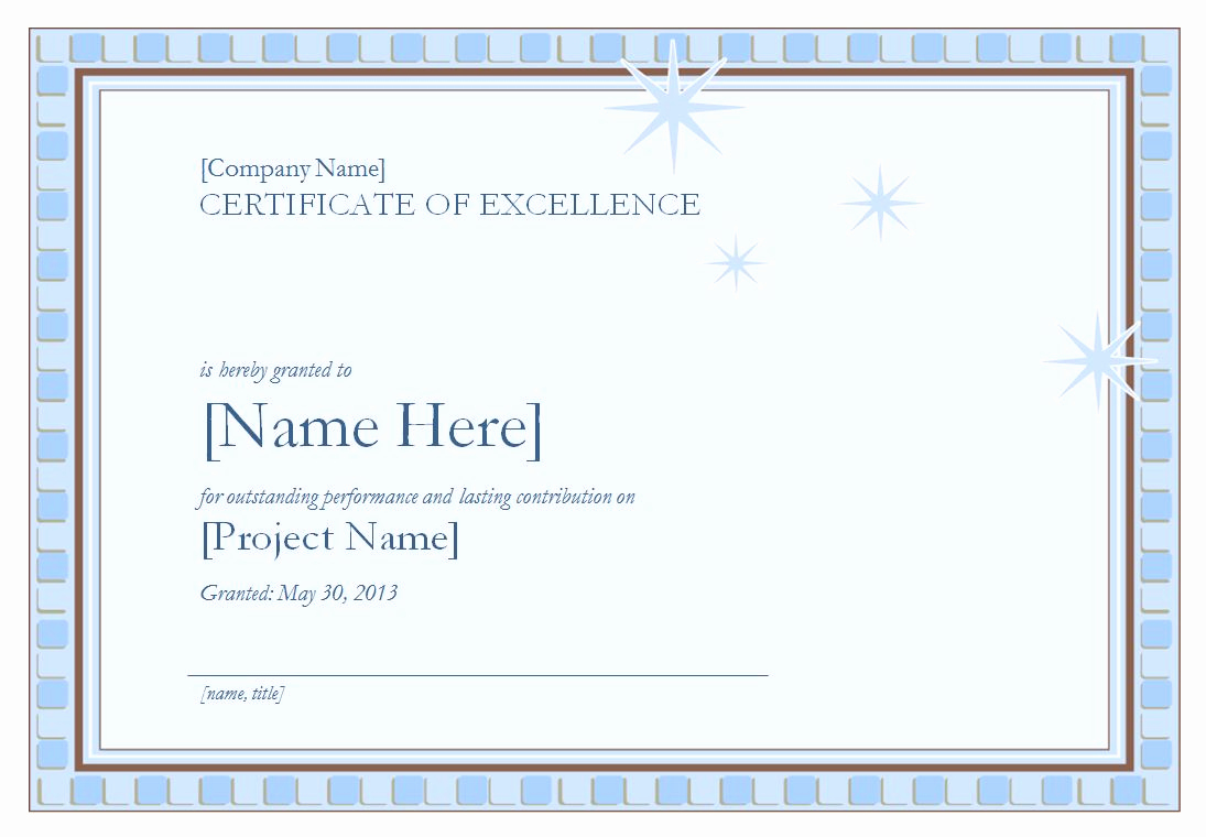 Certificate Of Excellence Template Unique Certificate Of Excellence Template
