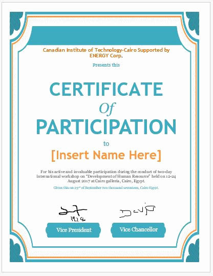 Certificate Of Participation Template Awesome Certificate Of Participation Templates for Ms Word