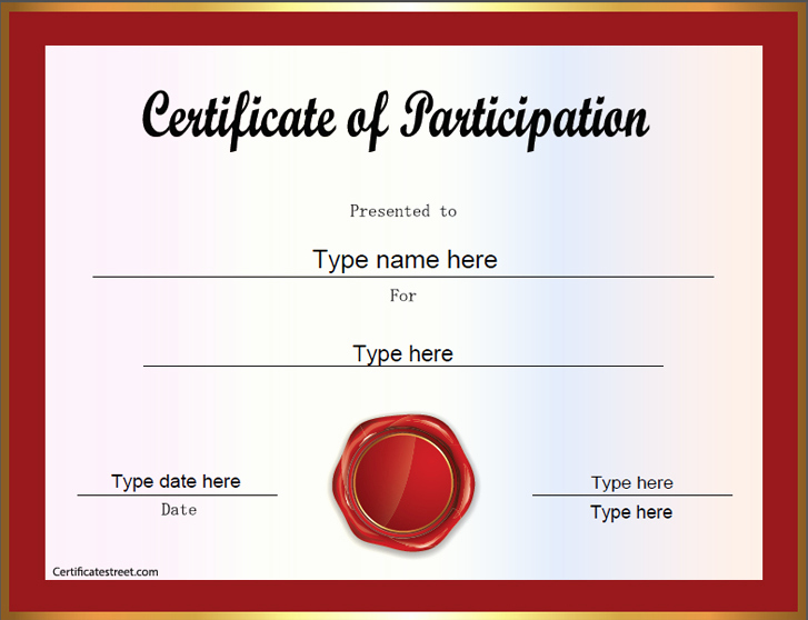 Certificate Of Participation Template Awesome Certificate Street Free Award Certificate Templates No