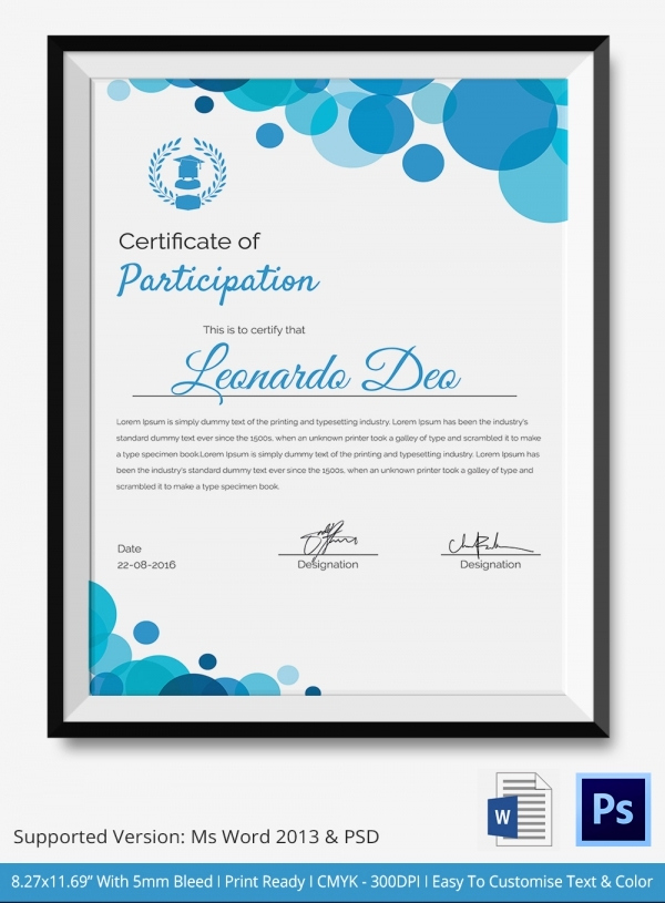 Certificate Of Participation Template Awesome Participation Certificate Template 14 Free Word Pdf