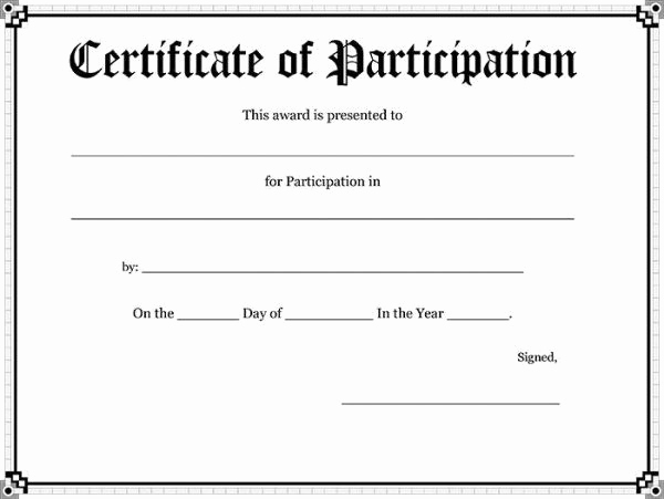 Certificate Of Participation Template Beautiful Participation Certificates Templates 52 Free Printable