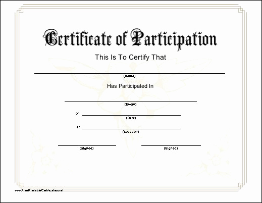 Certificate Of Participation Template Best Of A Printable Certificate Of Participation with A Subtle