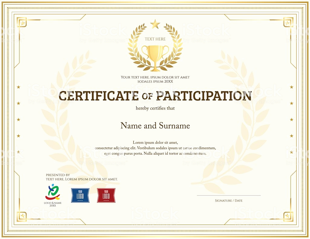 Certificate Of Participation Template Best Of Certificate Participation Template In Gold theme with