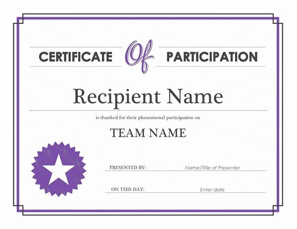 Certificate Of Participation Template Elegant Certificate Of Participation