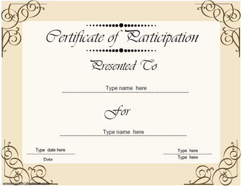 Certificate Of Participation Template Elegant Certificate Street Free Award Certificate Templates No