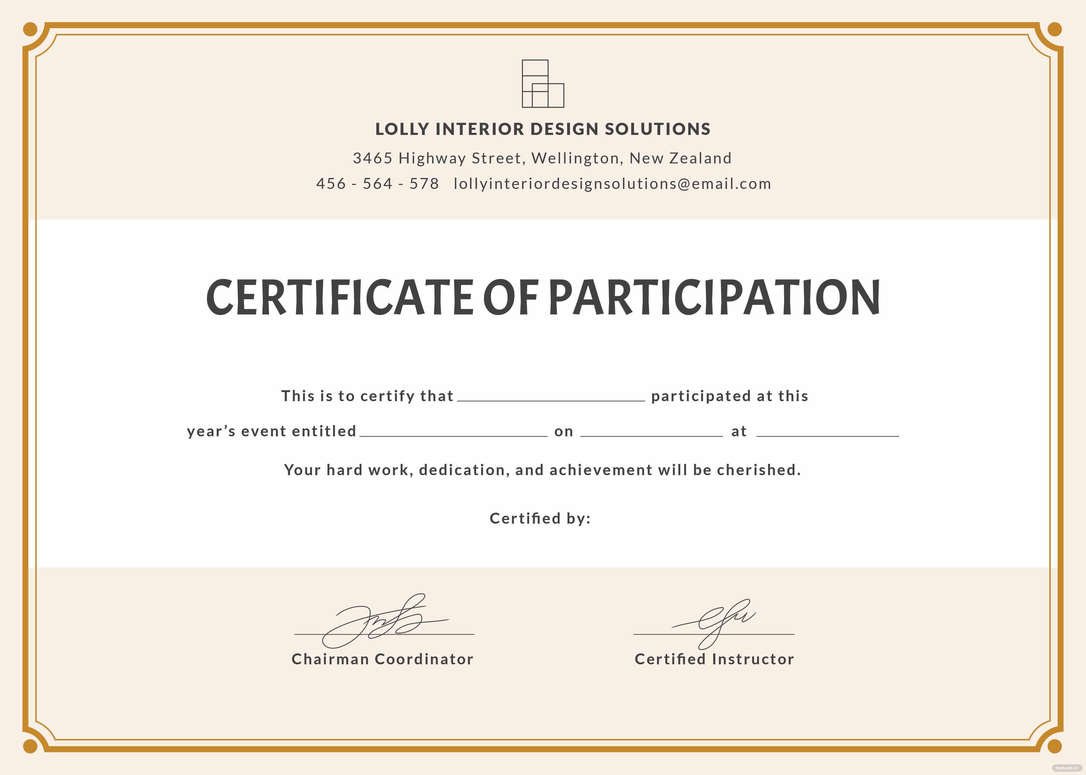 Certificate Of Participation Template Elegant Free Blank Participation Certificate Template In Psd Ms