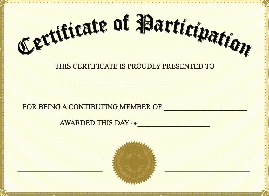Certificate Of Participation Template Elegant Free Printable Certificate Of Participation