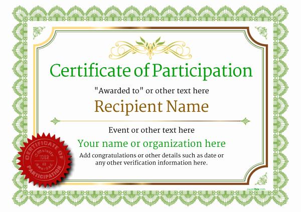 Certificate Of Participation Template Elegant Participation Certificate Templates Free Printable Add