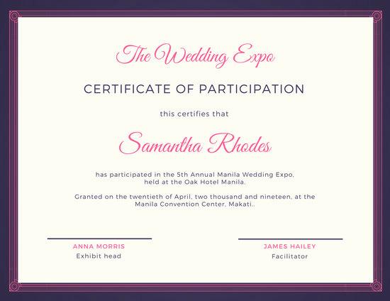 Certificate Of Participation Template Elegant Pink and Blue Fancy Certificate Of Participation