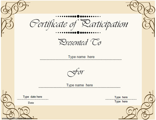 Certificate Of Participation Template Inspirational Certificate Street Free Award Certificate Templates No