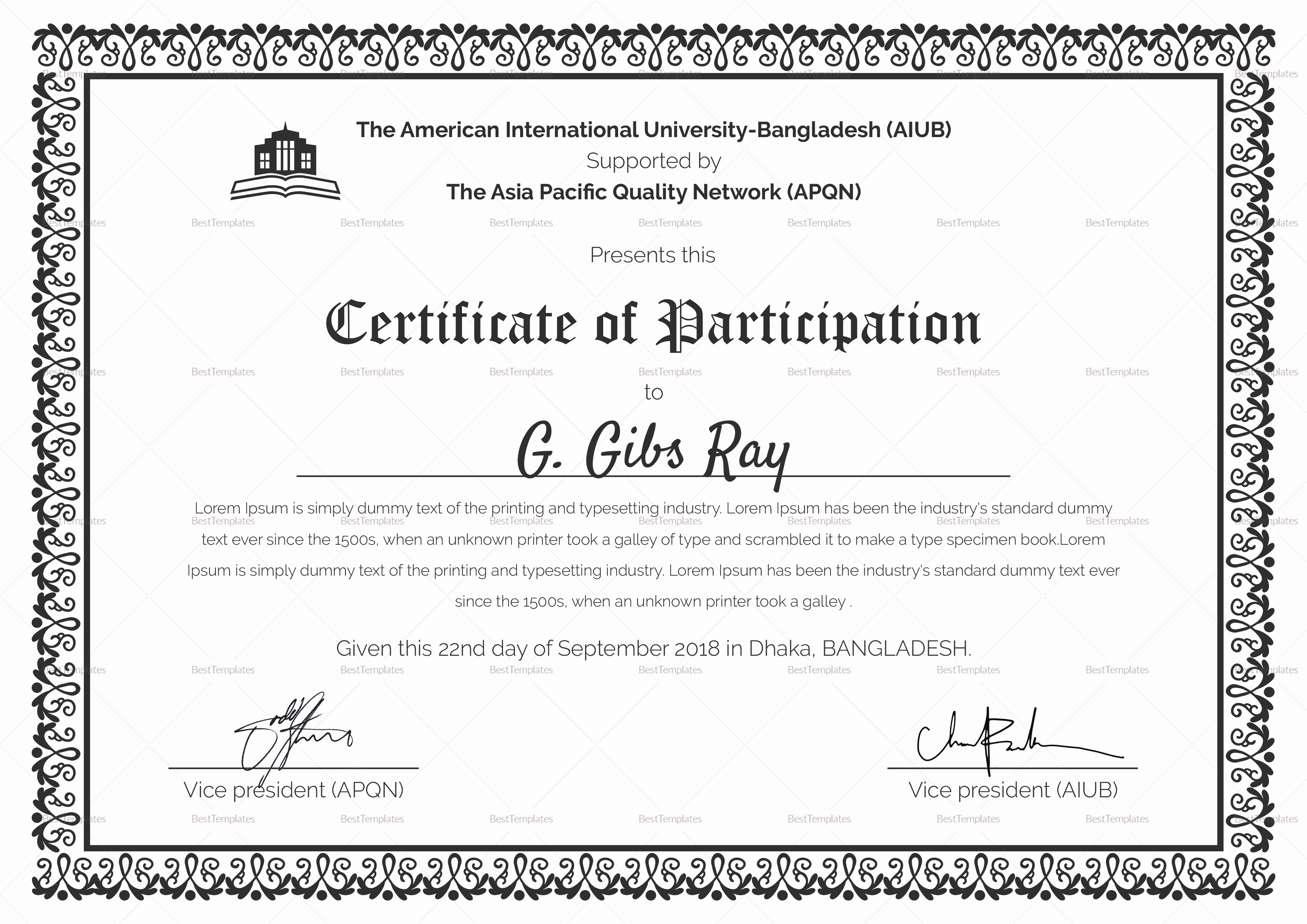 Certificate Of Participation Template Lovely Printable Participation Certificate Design Template In Psd