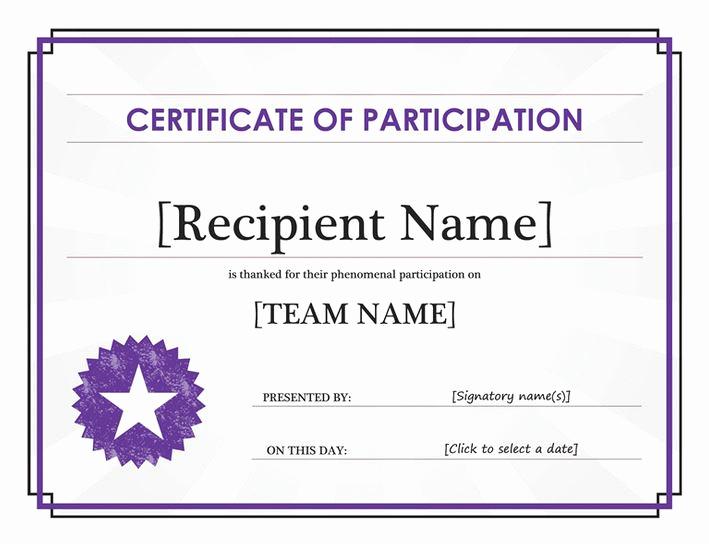 Certificate Of Participation Template Unique Certificate Of Participation