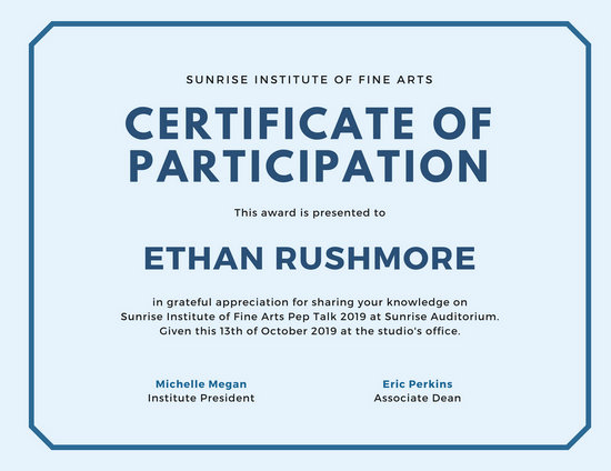 Certificate Of Participation Template Unique Customize 89 Appreciation Certificate Templates Online