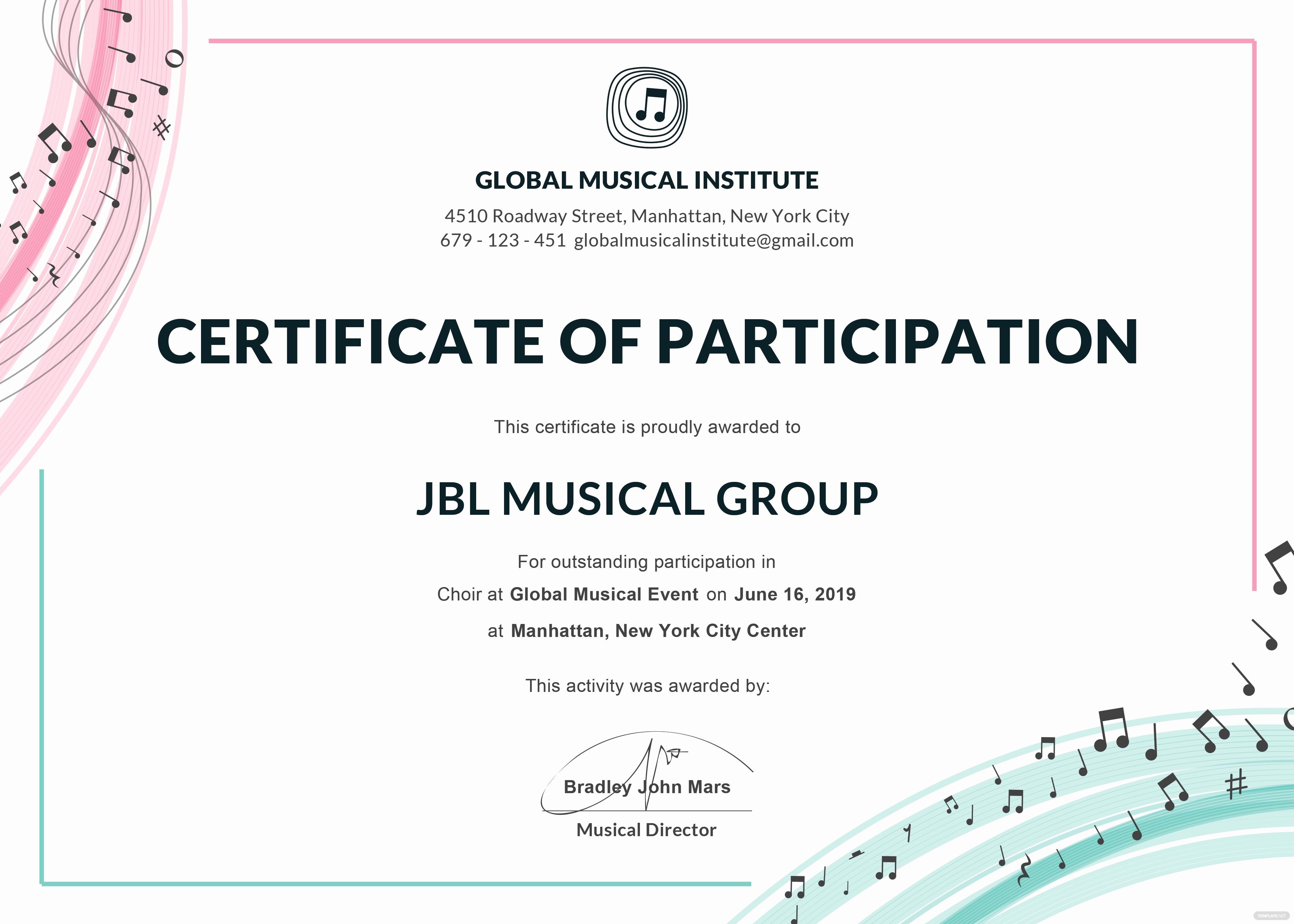 Certificate Of Participation Template Unique Free Choir Certificate Of Participation Template In Adobe