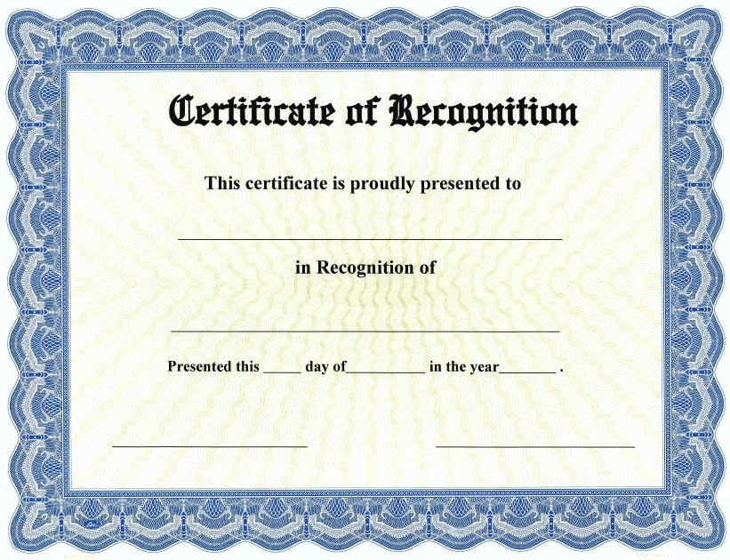 Certificate Of Recognition Template Best Of 20 Certificate Of Recognition Template [word Excel Pdf]