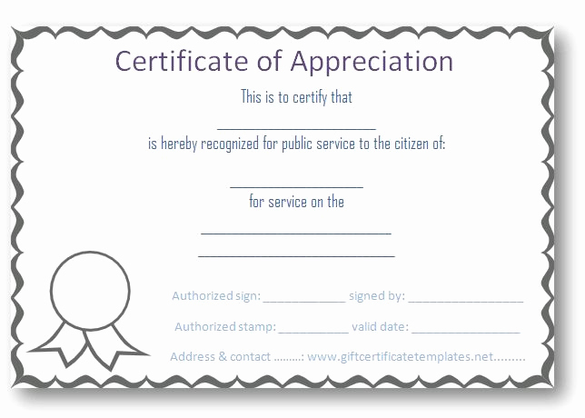 Certificate Of Recognition Template Fresh Free Certificate Of Appreciation Templates Certificate
