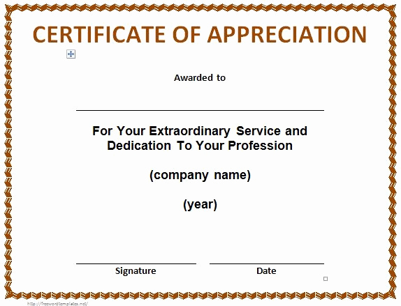 Certificate Of Recognition Template Inspirational 30 Free Certificate Of Appreciation Templates and Letters