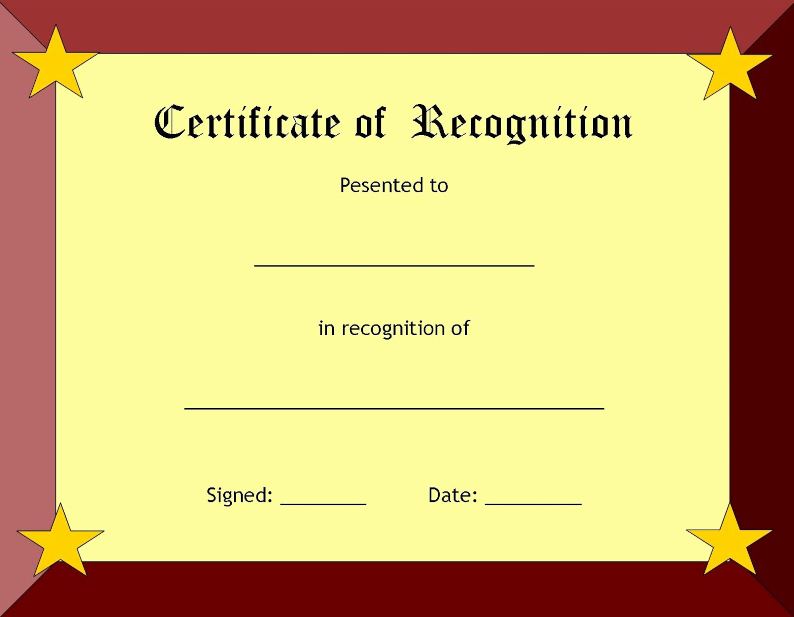 Certificate Of Recognition Template Inspirational Blank Certificate Templates