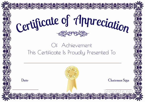 Certificate Of Recognition Template Inspirational Certificate Of Appreciation Template Certificate Of