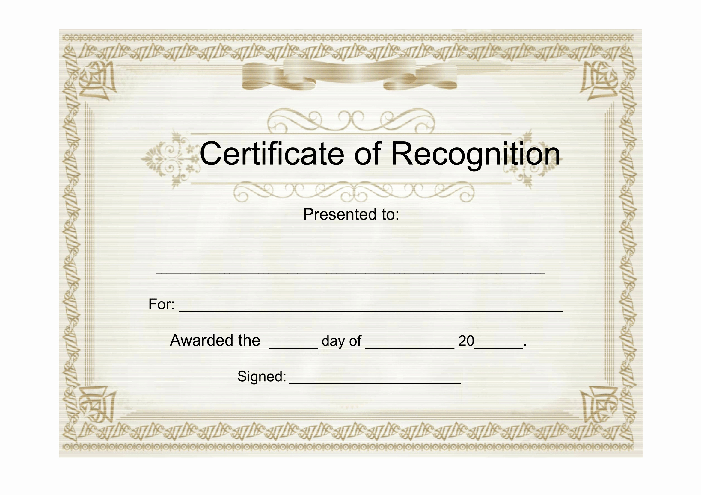 Certificate Of Recognition Template Inspirational Sample Certificate Of Recognition Free Download Template