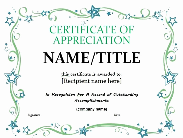 Certificate Of Recognition Template Lovely 30 Free Certificate Of Appreciation Templates and Letters