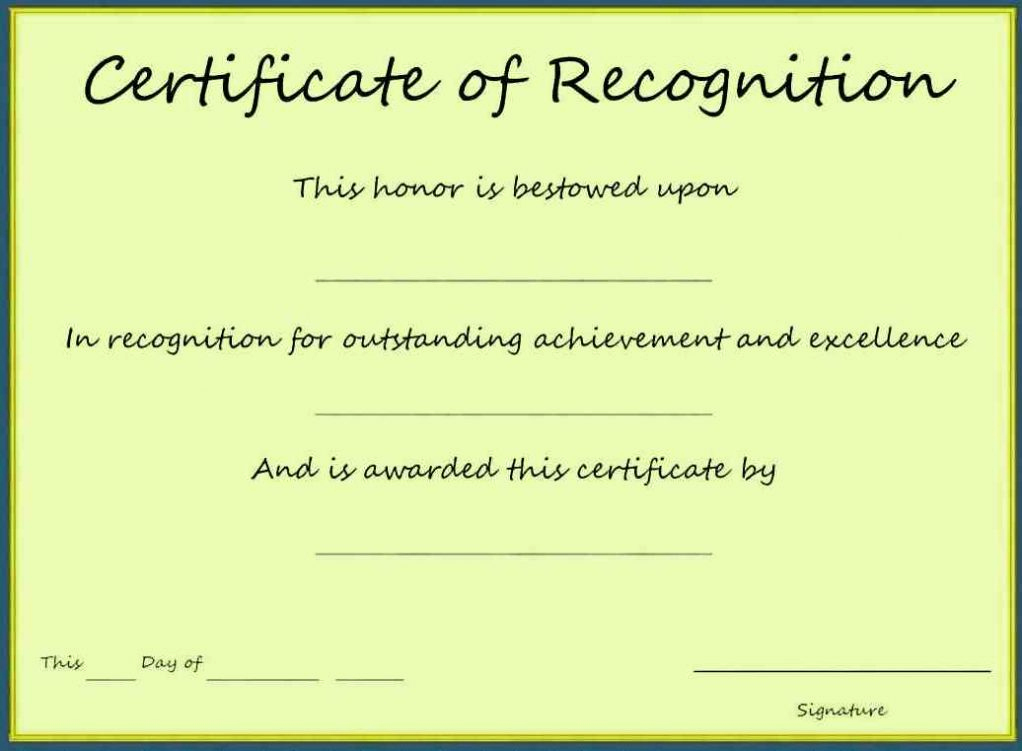 Certificate Of Recognition Template Lovely Printable Blank Certificate Of Appreciation Recognition