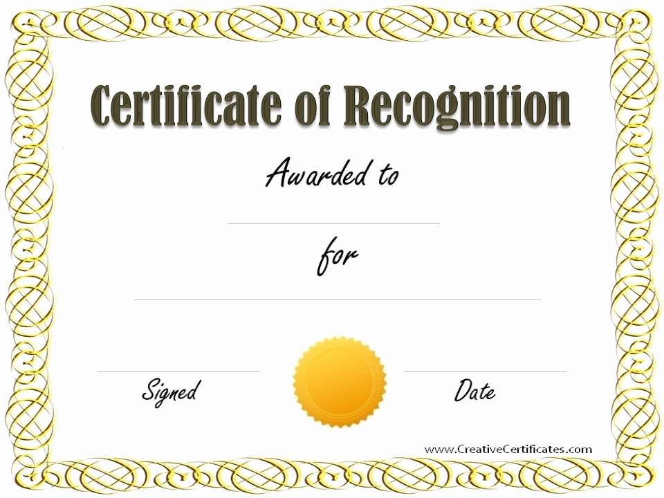 Certificate Of Recognition Template Luxury Certificate Recognition Template Beepmunk