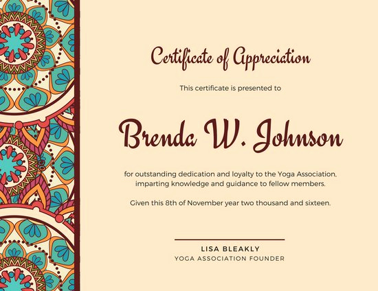 Certificate Of Recognition Template Luxury Customize 86 Appreciation Certificate Templates Online