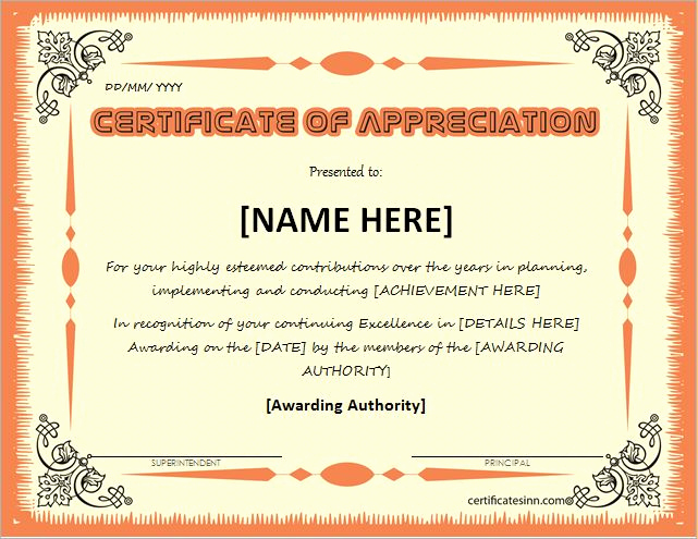 Certificate Of Recognition Template New Certificates Of Appreciation Templates for Word