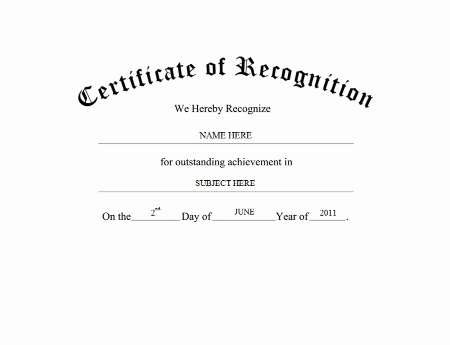 Certificate Of Recognition Template Unique Awards Certificates