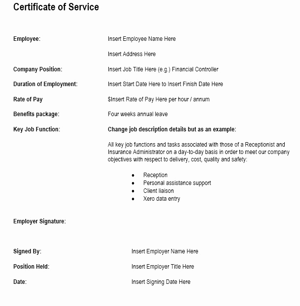 Certificate Of Service Template Beautiful 12 Free Sample Employment Certificate Templates