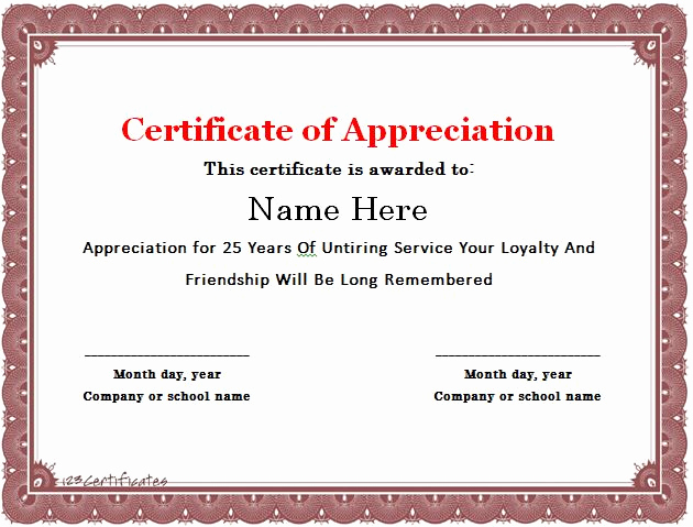 Certificate Of Service Template Beautiful 30 Free Certificate Of Appreciation Templates and Letters