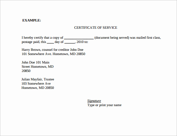 Certificate Of Service Template Lovely Sample Certificate Of Service Template 19 Documents In