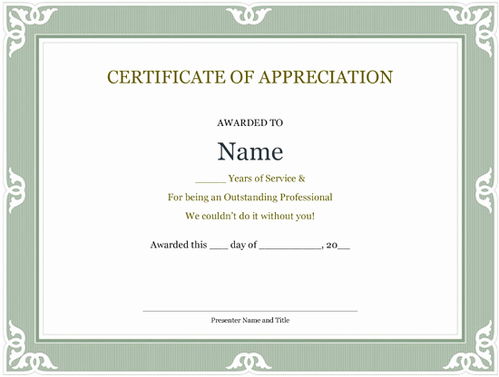Certificate Of Service Template Luxury 5 Printable Years Of Service Certificate Templates – Word