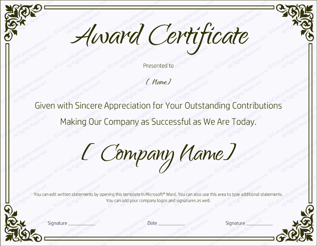 Certificate Of Service Template Unique 89 Elegant Award Certificates for Business and School events
