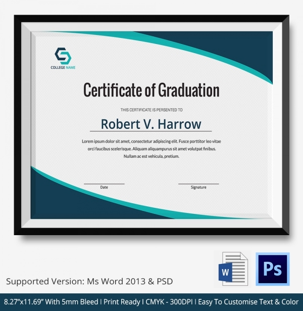 Certificate Templates for Word Awesome 11 Graduation Certificate Templates Word Pdf Documents