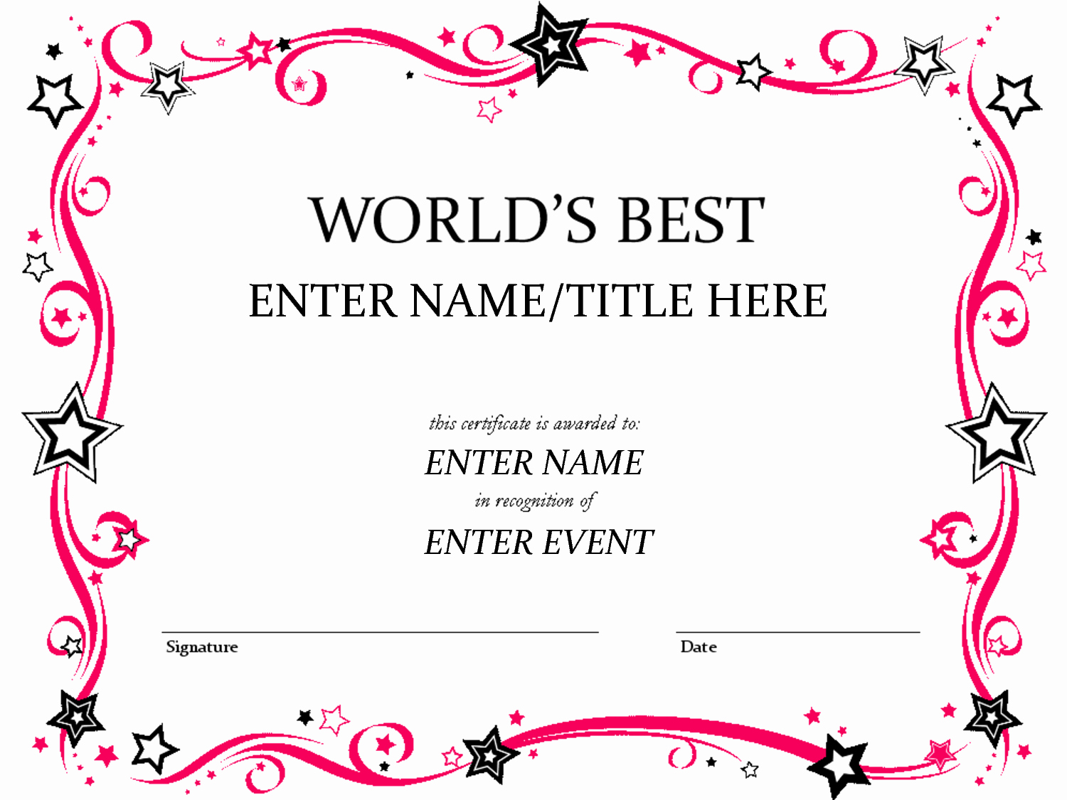 Certificate Templates for Word Best Of Award Certificate Template …