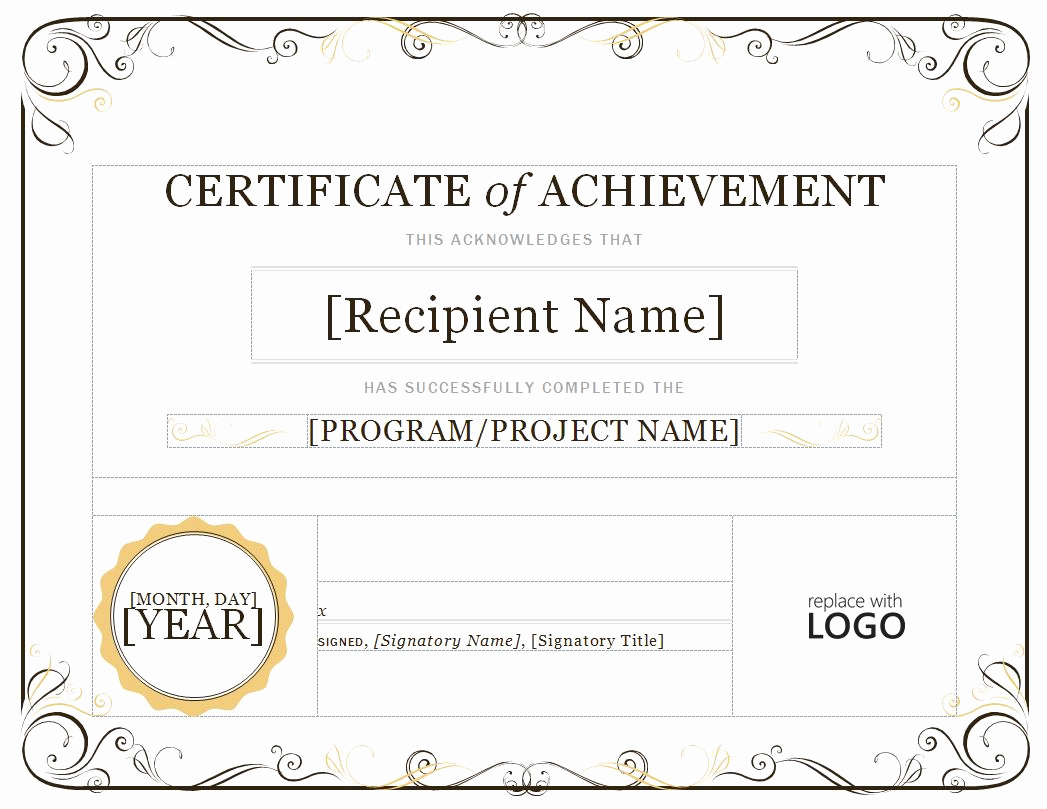 Certificate Templates for Word Luxury Certificate Achievement Template