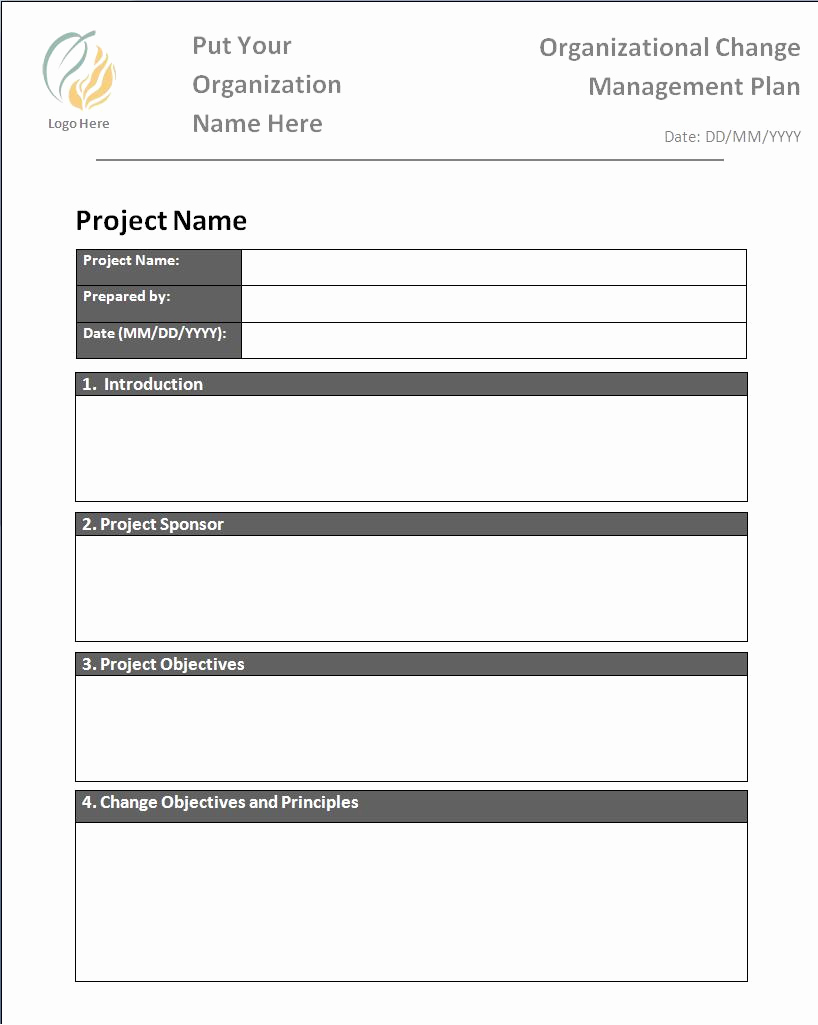 Change Management Plan Template Awesome Plan Templates
