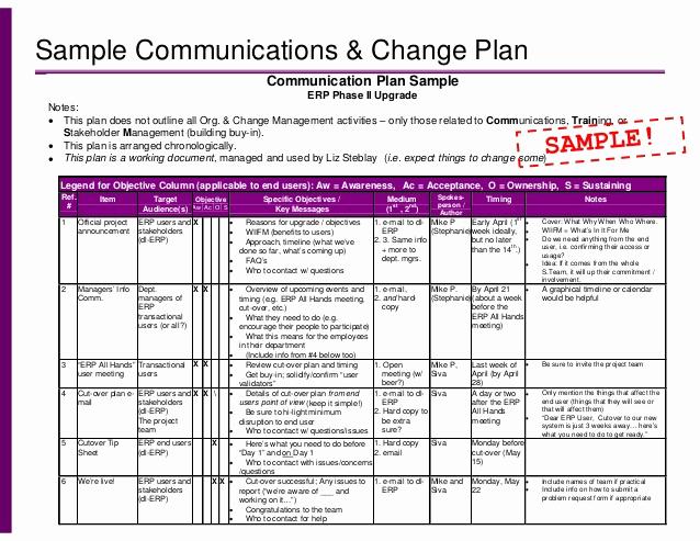 Change Management Plan Template Beautiful Training Munication Plan Retail Management Training