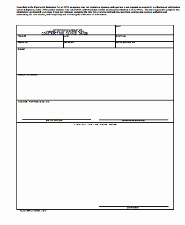 Change order form Template Beautiful Sample Construction Change order form 7 Examples In