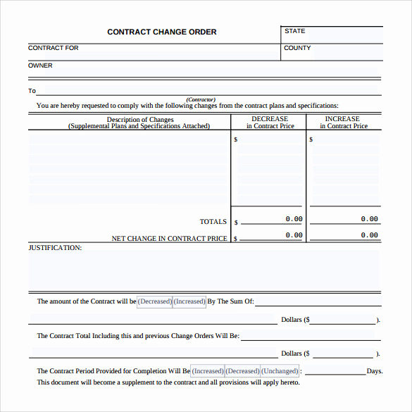 Change order form Template Best Of 11 Change order Samples