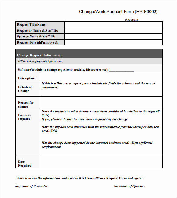 Change order form Template Fresh Sample Change Request 7 Documents In Pdf Word