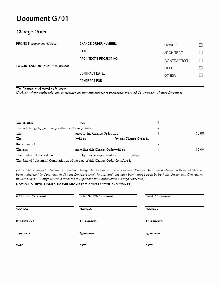 Change order form Template Inspirational Aia G701 Change order form Template for Excel Change
