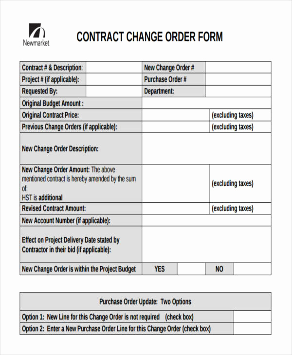 Change order form Template Luxury Change order forms 9 Free Word Pdf format Download